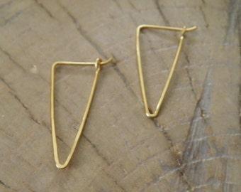 """Earrings...NEW """"Valleys""""  handmade hammered brass earrings."""