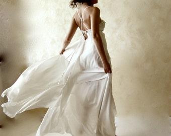 Wedding dress, backless wedding dress, silk dress, open back wedding dress, Boho wedding dress, ethereal wedding dress, fairy wedding dress