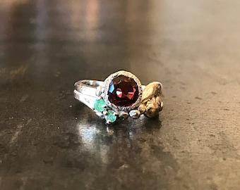 Sterling Silver  red garnet emerald  artisan Ring 5 Handmade Jewelry