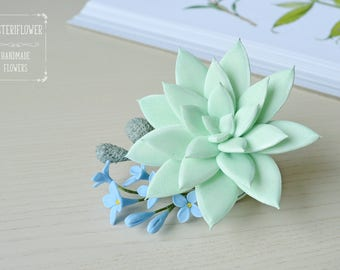 Succulent Hair clip Bridesmaid Gift for her Rustic wedding Flower hair clip Succulent Jewelry Wedding hair accessories Something blue Flower