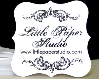 Personalized Ornate Tags, Shop Logo, Supplies, Gift Tags, Hang Tags, Bridal Favor, Bracket, Die Cut - Set of 24