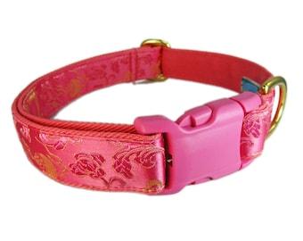 Dog Collar for Girls, Pink Dog Collar, Fancy Dog Collar, Silk Dog Collar, Dragon Dog Collar, Asian Dog Collar, Custom Dog Collar