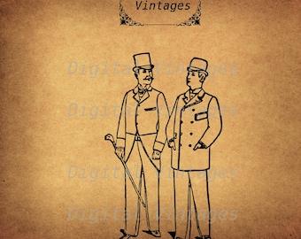 Men in Suits and Hats Ilustration Vintage Antique Digital Image Download Printable Graphic Clip Art Prints HQ 300dpi svg jpg png