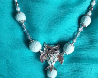 Owl necklace with felted wool balls