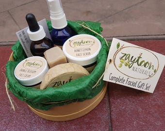 Complete Facial Care Kit -- Facial products gift set -- all natural handmade facial skincare products -- halal, vegan eco friendly