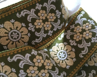 Vintage Floral Woven Ribbon~European~Olive Green Yellow White~6 1/3 Yards x 2.25 Inches Wide~Pristine~Unused/NOS~Tapes Trims Dress Crafts