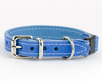 Blue Italian Leather Cat Collar