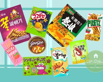 Printable 1:12 Scale Asian Snacks (36 Types) for Miniature Dollhouses