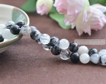 Grade A Natural Black Rutilated Quartz Beads NOT Dyed 6mm 8mm 10mm 12mm Smooth Polished Round 15 Inch Strand RQ02