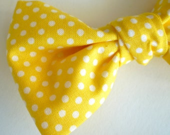 Yellow Polka Dot Bow tie - clip on, pre-tied with strap or self tying - ring bearer attire, groomsmen ties