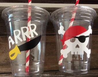 Pirate Party Cups - Party Cups, Pirate Party, Birthday Party, First Birthday,