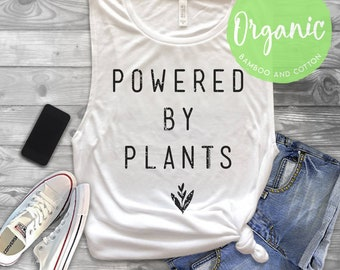 Organic Powered by Plants Muscle Tank Top - Bamboo & Cotton Tank Top - Environmentally Friendly - Made in the USA