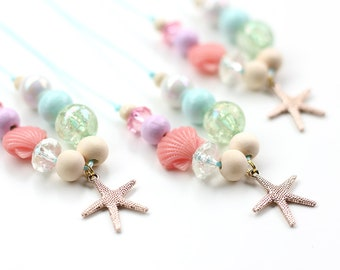 Mermaid Necklace, Mermaids, Mermaid Party, Mermaid Birthday, Beaded Necklace, Gift For Kids, Charm Necklace