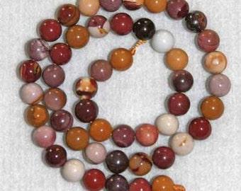 Mookaite, Mookaite Smooth Bead, Multicolor Beads, Natural Stone, Strand, 8mm,  Australia