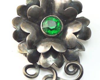 "Beautiful Vintage Sterling Hobe Flower Brooch Pin Green Rhinestone 2 1/4"""