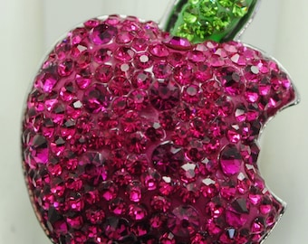 Pink Rhinestone Apple Ring/Green/Statement Ring/Gift For Her/Under 15 USD/Adjustable