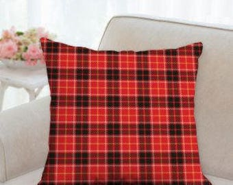 Red and Black Winter Plaid Pillow