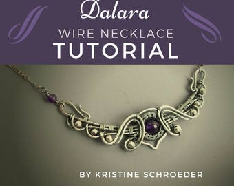 Necklace Tutorial, Curved Bar Tutorial, Wire Wrap Tutorial, Intermediate Jewelry Tutorial, Wire Jewelry Tutorial, Instant Digital Download