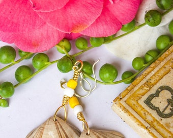 Yellow and Striped Shell Beach Mermaid Earrings
