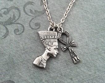 Nefertiti Necklace SMALL Queen Nefertiti Charm Necklace Pendant Necklace Ankh Necklace Egyptian Jewelry Nefertiti Jewelry Charm Jewelry Gift
