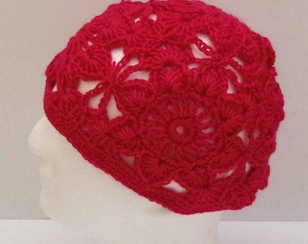 Birthday gifts for her women, women's girl's boho crochet beanie hat, deep pink spring hat, cloche hat, vintage style, gifts for women