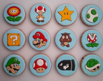 Super Mario Bros. Cookies - One Dozen Decorated Cookies / Party Favors