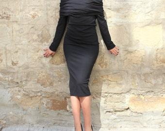 Black bodycon dress, Midi dress, Fitted dress, open neck dress, off shoulders Dress, Party dress, Evening dress, 067.217