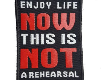 Sew On Graphic Words Patch Applique, Jacket Denim Bags Decor Patch Applique, Black White and Red