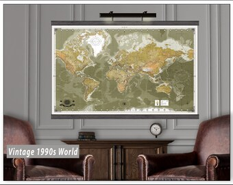 Detailed Push Pin Travel Map. Large Travel Maps. 40x60 or 44x70  Hanging Map printed on Canvas.  Map MM2017 Autumn colors