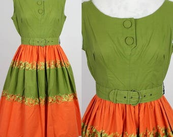 1950s Vintage Remarque Stunning Green and Orange Embroidered Cotton Swing Dress Size S