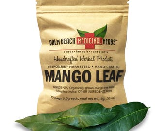 Dried Mango Leaf - 10 Individual Bags of Fresh Dried Hand-Crushed Tropical Mango Tree Leaves - Pure, No Fillers, All-Natural, Non-GMO