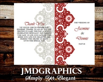 Maroon Red Wine Wedding Indian Paisley Program Template, Maroon Wedding Program, Indian Program