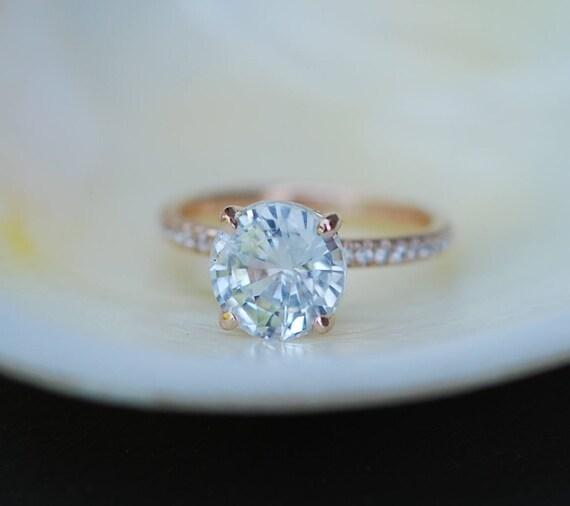 3.2ct White Sapphire round ring. Rose Gold Diamond Ring, Rose Gold Engagement Ring. Blake ring. Diamond Engagement Ring by Eidelprecious