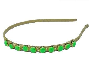Beaded /headband - green headband