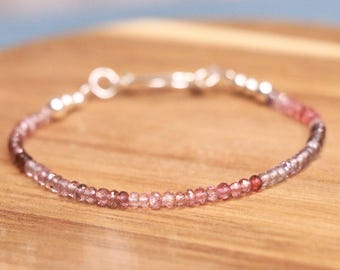 Spinel Sterling Silver Bracelet - Crystal Bracelet, Beaded Bracelet, Gemstone Bracelet, Delicate Bracelet, mothersday gift