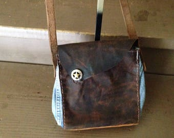 Leather and denim bag handcrafted