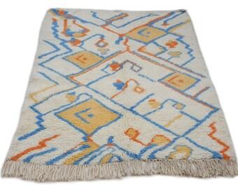 6'X5' ft / Handmade Moroccan rug Beni Ourain 100 Percent Wool / Azilal Rug / Boucherouite Rug / Beni Ouarain / Moroccan Kilim