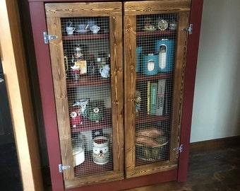 Rustic Farmhouse Primitive Jelly Cabinet- Pie Safe customizable!