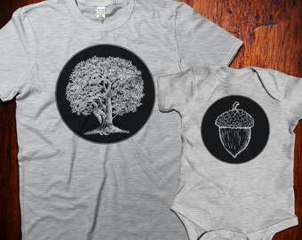 Oak tree and acorn t-shirt set, Matching Shirts, Dad and baby matching, Father and Son, Father Daughter, Gift for New Dad, Father's Day Gift