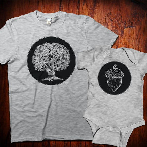 Gift for new Dad, Oak tree and acorn, Matching Shirts, Father's Day Gift, Dad and baby matching, Father and Son, Father Daughter, Dad gifts