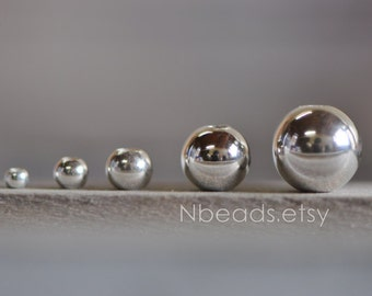 925 Sterling Silver Smooth Round Beads, Seamless Silver Large Hole Spacer Beads, 2/ 3/ 4/ 6/ 8mm (S001)