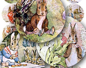 Easter Collage Sheet of Beatrix Potter Peter Rabbit Bunnies for Spring printables in 2 inch circles -- piddix digital collage sheet 515