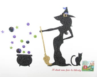 Applied fusing Halloween Witch Cauldron liberty cat glitter flex patch witch pattern iron-on applique Halloween iron on