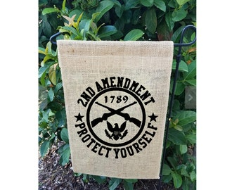 2nd Amendment Protect Yourself Garden Flag| 2nd Amendment| Burlap Garden Flag| NEXT DAY SHIPPING!