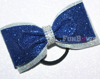 Beautiful Two color custom  Glitter Tail-less cheer - dance - pageant  bow  by Funbows