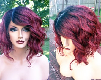 Human Hair BLEND Short Bob Wine Red Swiss Lace Front & PART Wavy Wig w/ Dark Root // #AF46