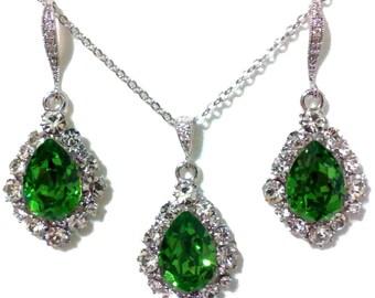 Green Bridal Jewelry Set, Teardrop Bridesmaid Earrings, Dangle Earrings, Drop Necklace, Swarovski Crystal Bridesmaid Jewelry Gift, BIJOUX