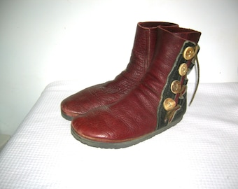 Bald Mountain Boots Buffalo Skin MOCCASIN Boots Leather Antler Buttons Renaissance Medieval Boots Moccasins Hand Made Artisans USA