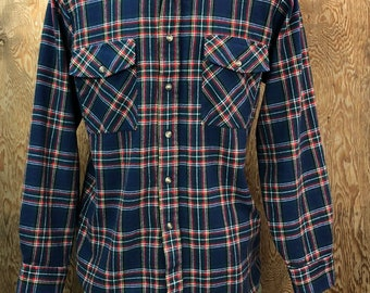 Vintage 1980's Blue Plaid Flannel Shirt Backpacker Medium
