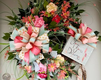 Chase Your Dreams,Grapevine & Silk Flower, Large Ribbon Bow, Feather, Wreath for Door or Wall to Enjoy Everyda y